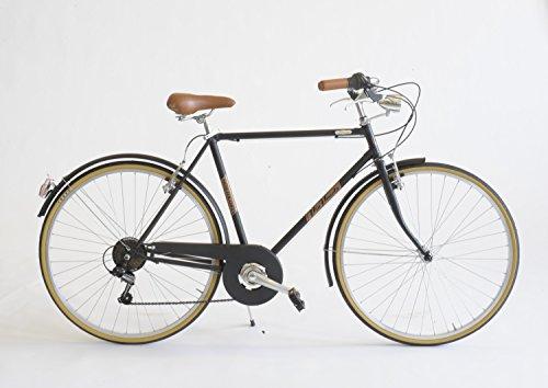 Via Veneto Bicicletta Condorino Uomo Made in Italy (Taglia Telaio 50, Nero Polvere di Caffe')
