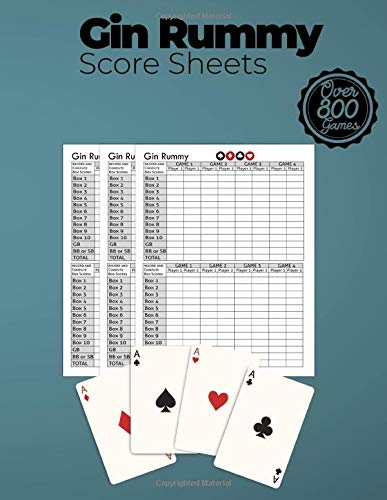 Gin Rummy Score Sheets: Score Pad For Keeping Track of All Your Scores for Over 800 Games |Gin Rummy Lovers |Score Keeping Pads | Gin Rummy Game Kit  | Score Keeper Notebook |Score Cards |