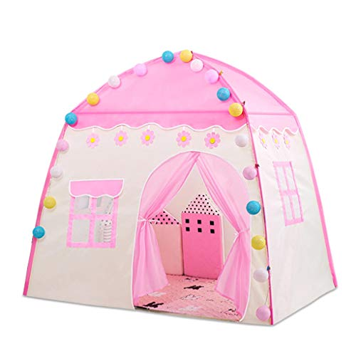 CSQ Princess Castle with Mat, Indoor Playhouse Pink Happy Play Tent Lightweight Portable Outdoor Picnic Tent Teepee Children's play house (Color : Pink, Size : 100 * 130 * 130CM)