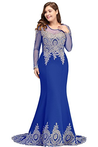 Plus Size Applique Long Sleeve Mermaid Prom Dress for Women Formal Royal Blue US16W