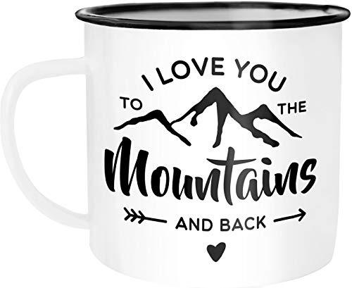Moonworks Taza esmaltada con texto en inglés 'I love you to the mountain and back'