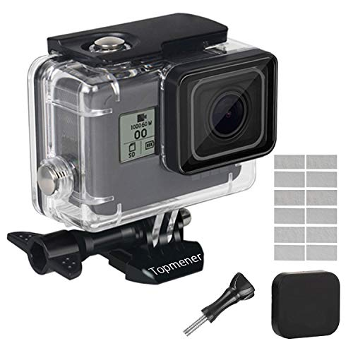 Topmener Waterdichte Behuizing Case voor GoPro Hero 7 6 5 2018 Zwart Actie Camera Accessoires HD Duikhoesje Onderwater Beschermende Shell Anti-Scratch met Anti-Fog Insert, Duimschroef en Lens Cap-45 M