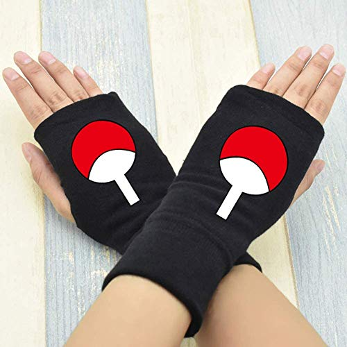 NXMRN Fingerlose Handschuhe, Anime Naruto Serie Kakashi Halbfinger warme Baumwollhandschuhe Anime Zeichen Druck Fäustlinge Jungen Mädchen beliebte Anime Fans Geschenke
