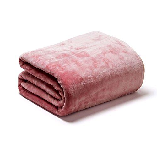 Sancarlos OSLO - Manta Lisa de Terciopelo Suave, Color Rosa, Cama de 135 cm, 220x240 cm