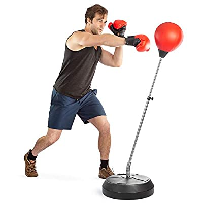 Boxing Ball Set with Punching Bag, Boxing Gloves, Hand Pump & Adjustable Height Stand - Strong Durable Spring Withstands Tough Hits for Stress Relief & Fitness by Tech Tools (Adult) by Tech Tools
