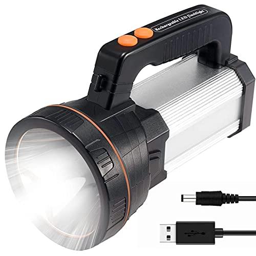 Torcia LED Ricaricabili Potente 7000LM 10-24 Ore 800M di Illuminazione, CREE LED Torcia 6600mAH Alta Potenza è Utilizzata per il Campeggio, Pesca, Passeggiate, Caccia (Tipo H, Argento)