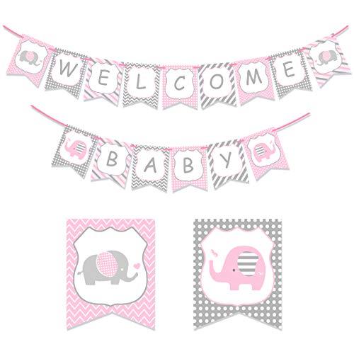 Kreatwow Rosa Elefant-Babyparty - willkommene Baby-Fahnen-Kleiner Elefant-kleine Erdnuss-Babyparty-Dekorationen