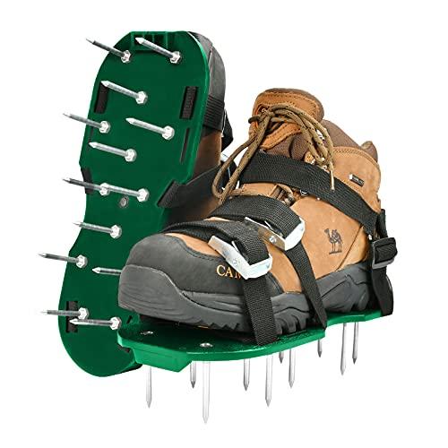 KATELUO Rasenlüfter Schuhe, Rasenbelüfter Rasenlüfter mit Verstellbare Gurte und Metallschnalle, Rasenbelüfterschuhe Universalgröße, Vertikutierer Rasen Nagelschuhe für Rasen, Garten, Hof (Grün)