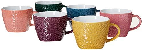 Elama Garden Glee Luxe 6 Piece 18 oz Mug Set in Assorted Colors, 18 ounce, Multicolor
