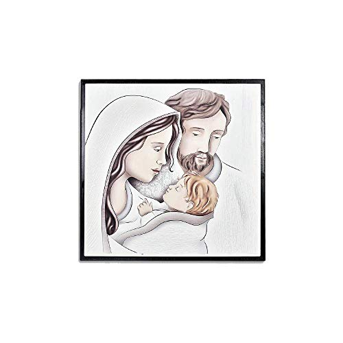 Quadretto In Legno Scuro Con Piedino e Mattonella Quadrata In Ceramica Decorata Tema Sacro Ideale Come Bomboniera Battesimo Comunione Matrimonio e Anniversari - Made In Italy (Sacra Famiglia, 11x11cm)