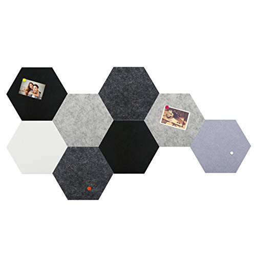 Hexagon Bulletin Board Tiles, Small Felt Pin Board for Enamel Pins Pictures, Damage-Free to Wall (5.9''×6.7''), as Office Classroom Home Decor, 1/3 Thickness, 8 PCS, 40 Pins (Grey)