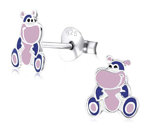 Laimons meisjes kinderen oorstekers oorbellen kindersieraden paars roze van sterling zilver 925