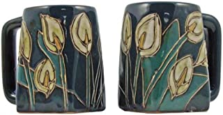 One (1) MARA STONEWARE COLLECTION - 12 Oz Coffee Cup Collectible Square Bottom Dinner Mug - Lily Flowers Design