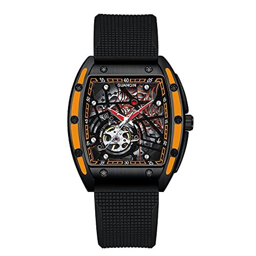Steampunk Mens Automatic Watches Tonneau Rectangle Skeleton Spider Dial Movimento giapponese Cinturino in silicone Cool Sports Orologio da polso con quadrante grande (203 arancione/nero)