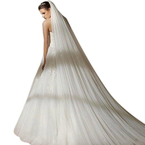 Zeal dubbellaags 3 m gauze lang Mantilla avondjurk bruiloft jurk sluiertje met kam