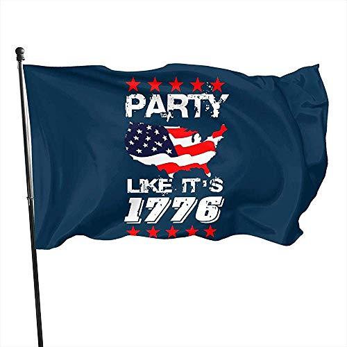 KL Decor Vlag Banner, Party Like It 'S 1776 4e van juli Shirt Patriottische ons Vlag Grappige Outdoor Seizoensgebonden Vlaggen 32cmx48cm