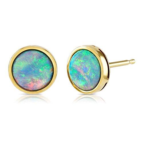 Ohrstecker mit Opal, 7 mm rund, 9 k Gold