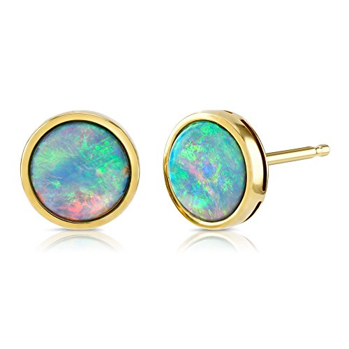 Paul Wright Created Opal Stud Earrings, 9ct Yellow Gold, 7mm Round