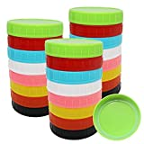 Canning Lids Regular Mouth - Plastic Mason Jar Lids with Silicone Seals Rings Fits Ball/Kerr Jars, Leak-Proof & Anti-Scratch Resistant Surface, 8 Colors,24 Pack