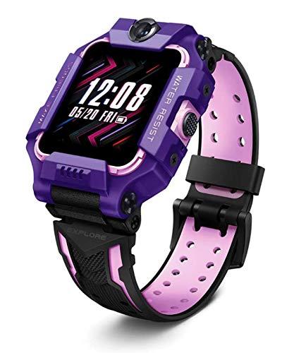 LNLJ Niños Smart Watch Phone for Boys Girls Edad 4-12 con Videos Y Llamadas Telefónicas, 8MP + 5MP Dual CÁMARA, Rastreador GPS, IP68 Impermeable, Contador De Pasos, Modo De Clase, Púrpura