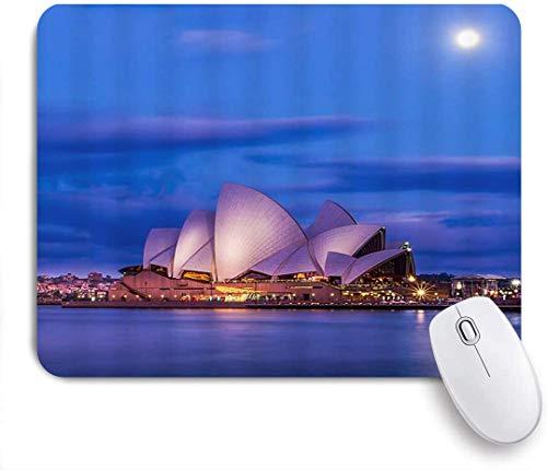 Gaming Mouse Pad rutschfeste Basis, Sydney Opera House Australien Wahrzeichen Harbour Night Weltberühmtes Zentrum für darstellende Kunst Shell-förmige Architekturkunst, für Computer-Laptop-Büro