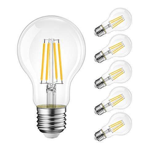 LVWIT 10.5W E27 Filament LED Glühfaden A60, 2700K Warmweiß, Ersatz für 100W Glühlampe, ultrahell 1521 lm, nicht dimmbar, Rustikalampe in Kolbenform, Filamentstil klar (6er Pack)