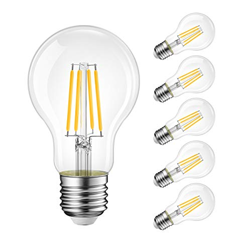 6 Unidades E27 Bombillas Filamento A60 LED Retro Vintage - equivalente a 100W, 1521 lúmenes, Color Blanco Cálido 2700K, No regulable - LVWIT.