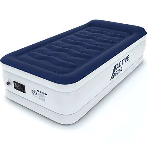 Active Era Luxury Twin Size Air Mattress (Single) - Elevated Inflatable Air Bed, Electric Built-in Pump, Raised Pillow & Structured I-Beam Technology, Height 21'