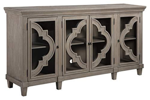Signature Design by Ashley - Fossil Ridge 4-Door Accent Cabinet - Gray Finish - Black Metal Hardware - Quatrefoil Pattern on Glass Panel Doors