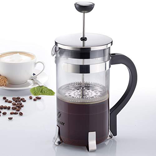 Westmark Kaffeebereiter French Press, 1 Liter, Glas/Rostfreier Edelstahl, Brasilia, Silber/Schwarz, 24722260