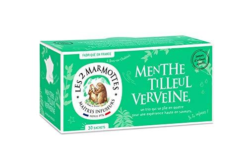 Les 2 Marmottes Infusion Menthe Tilleul Verveine- Douceur et Fraicheur - Bien-Être et Relaxation - Pour le soir - 30 Sachets - Made in France