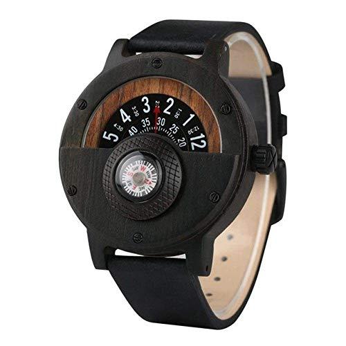 Reloj de Madera Reloj de Madera Reloj de Madera Retro Compás Dial Medio Dial Diseño Natural Cuarzo Reloj de Pulsera Analógico Reloj de Madera Reloj de Bolsillo (Color : Classical Black)