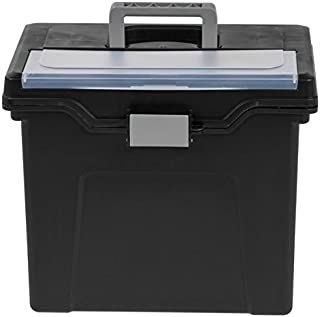 Office Depot Large Mobile File Box, Letter Size, 11 5/8in.H x 13 3/8in.W x 10in.D, Black/Silver, 110987