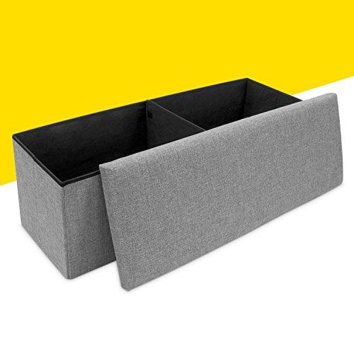 Faltbare Sitzbank mit Extra Stauraum - Grau 110 x 38 x 35 cm - Praktische Aufbewahrungsbox mit Sitzpolster - Grinscard - 3