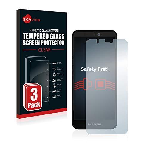 Savvies Panzerglas kompatibel mit Fairphone 3 Plus (3 Stück) - Echt-Glas, 9H Festigkeit, Anti-Fingerprint