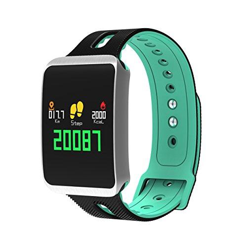 K&J Chipmunk - TF1,Smart bracelet impermeabile con Bluetooth, modalità multisport, contapassi, tracker per esercizi, calorie, salute, informazioni condivisibili con iOS e Android