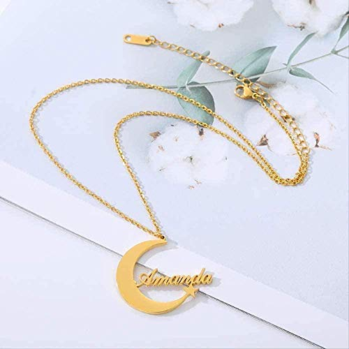 Yiffshunl Necklace Personalized English Name Necklace Creative Female Necklace Stainless Steel Moon Star Name Necklace Pendant Choker Jewelry Necklace Gift