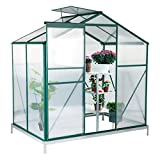 Erommy Walk-in Greenhouse Large Gardening Plant Hot House with Adjustable Roof Vent and Rain Gutters,UV Protection Planting House,4'(L) x 6'(W) x 6.6'(H)