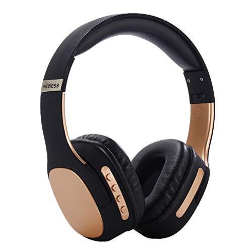 Wsaman Estéreo Cascos Inalámbrico Bluetooth, Auriculares Estéreo Cascos DJ con Active Cancelación de Ruido para Celular/Running Dispositivi Bluetooth Earphones,Oro