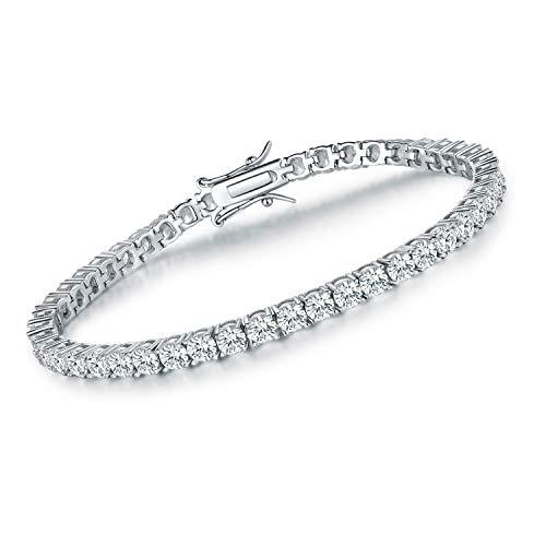 3mm Cubic Zirconia Tennis Bracelet for Women 18K White Gold Plated CZ Bracelets for Men Girls 7.5in