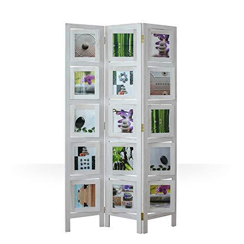 Homestyle4u 762, Foto Paravent Raumteiler 3 teilig, Fotowand Holz, White Washed