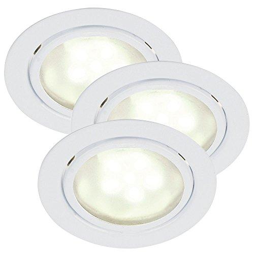 Nordlux Lot de 3 spots LED encastrables MERCUR LED 3 x 1,2 W G4 3200 K 60 lm IP44 Blanc Classe d'efficacité énergétique : A+
