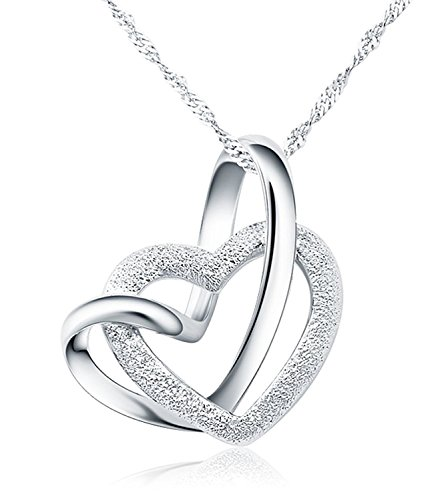 Forfamilyltd Genuine 925 Sterling Silver A Lifetime Loving You Interlocking Heart Pendant Necklace With 16'' (40cm) Chain (Love message card included)