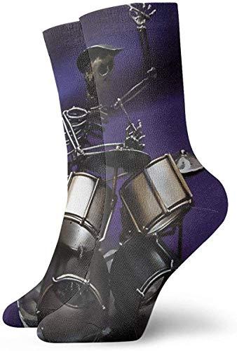 Schlagzeuger Totenkopf Lila Lässige Socken für Die Wadenmitte Neuheit Unterhalb des Knies Strümpfe Sportliche Socken für Männer & Frauen