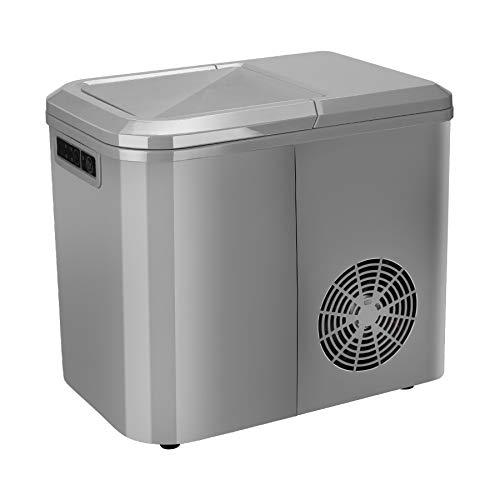 BMOT Máquina para Hacer Hielo 120W, Entre 6 y 9 Minutos, Silenciosa, 2 Tamaños de Cubitos, 2.2 L, Pantalla LCD, Plata, maquina hielo con cuchara de hielo, para camping, bar, cafetería, oficina