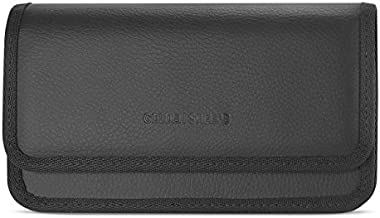 Golden Sheeps Pouch Compatible for LG G6, G5, G4, K10, K8 ,K7 XXL Size Leather Belt Clip Case Cover Holster(Phone with Large Thick / battery / heavy duty Case On)-black