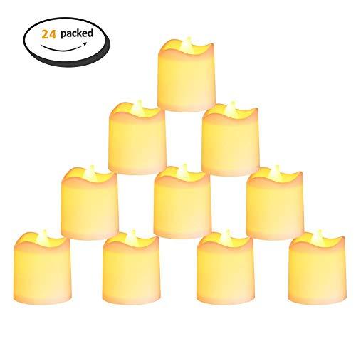 YCEOT Kandelaars, 24 stuks, warmwit, vlamloze LED-waxinelichtjes, button, cell, aangedreven kaarsverlichting voor decoratie, party, bruiloft