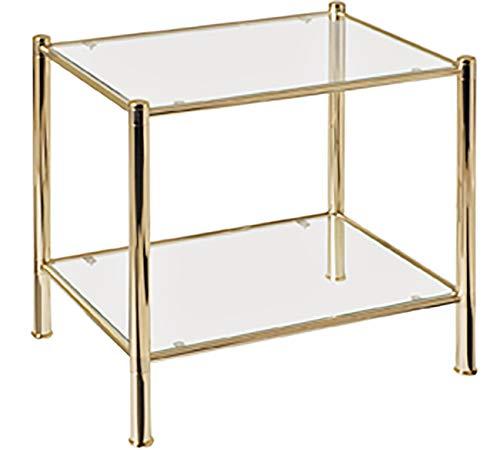 Haku Möbel Beistelltisch - Metall vergoldet - 2 Ablagen aus Glas Höhe 50 cm