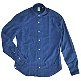 (フィナモレ) finamore SERGIO セルジオ メンズ コットンシャンブレー長袖シャツ ブルー 40サイズ [並行輸入品]