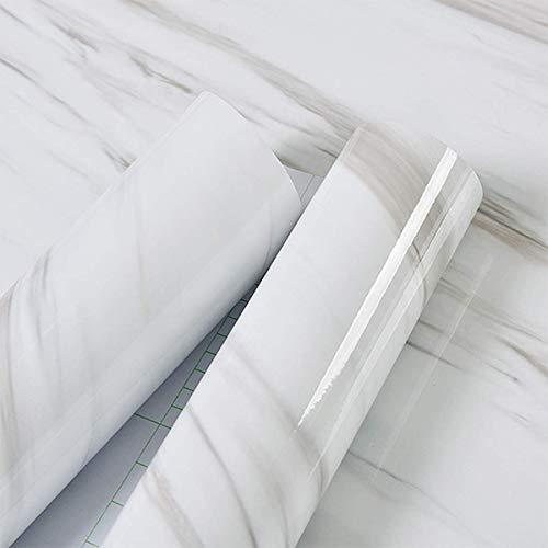 Hode Möbelfolie Marmor Klebefolie Selbstklebend Tapete 30cmX3m Aufkleber Abnehmbare Schälen und kleben Dekofolie Möbelsticker Wand wasserdicht Vinylfolie Schlafzimmer Schränke Zähler